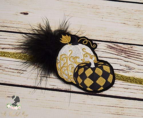 1920s Pumpkin Headband - Flapper Girl Headpiece - Harlequin Headband - Black Gold White Hair Piece - Vintage Fall Headband - Adult Headband ()