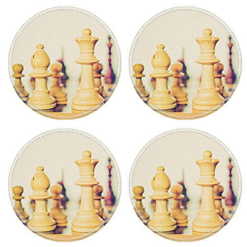 MSD Round Coasters Non-Slip Natural Rubber Desk Coasters design 27174079 Vintage looking Chess game board with pieces (Tables Board Chess Sale For)