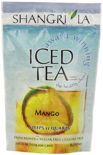 Shangri la tea company iced tea, black currant, bag of 6, 1/2 oz pouches 1 naturally sweet organic black tea with a lingering mango flavor user-friendly filter packets make steeping easy and quick award winning tea blend is sugar and calorie-free
