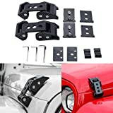 HEQIANG One Pair Black Stainless Steel Latch Locking Hood Catch Latches Kit for 2007-2017 Jeep Wrangler JK JKU 2018 JL (Installation Instruction Included)