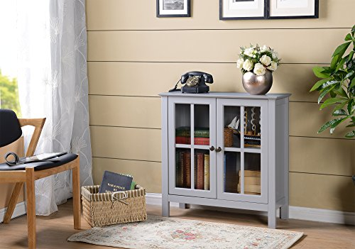 American Furniture Classics OS Home and Office Dark Gray Glass Door Accent and Display Cabinet, Dark Gray Paint (Door Cabinet Glass)