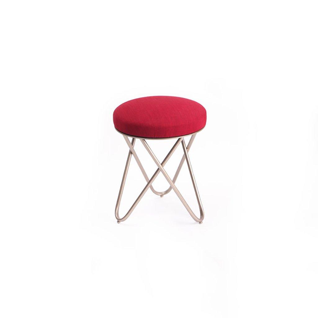 A KXBYMX American makeup stool creative simple stool fabric sofa shoes stool iron dressing stool - home stool (color   E)