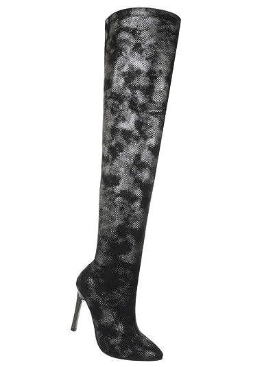 Damen OVERKNEEs Overkneestiefel Langschaft Stiefel in Wildleder Optik SCHWARZ