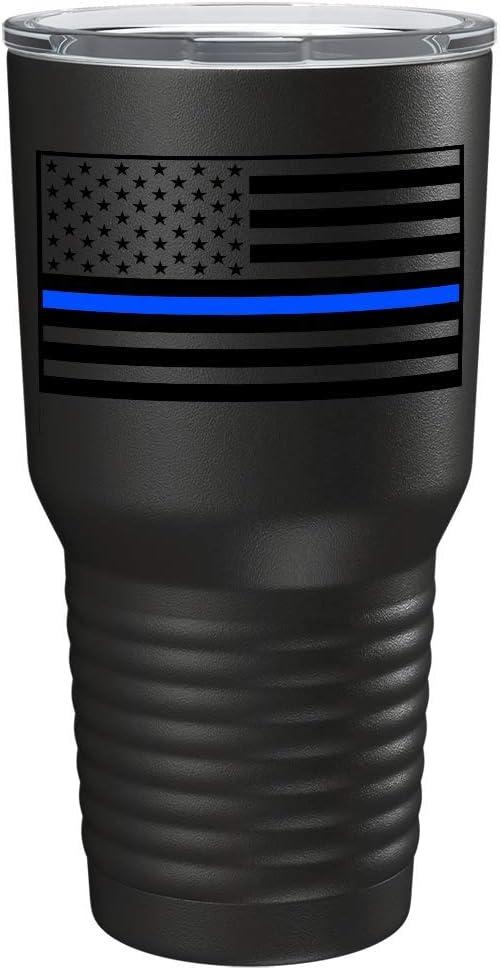 Police Thin Blue Line American Flag Tumbler