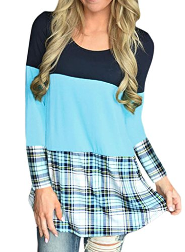 Light Blue Leopard - ROSKIKI Women's Plus Size Casual Striped Plaid O Neck Long Sleeve Pullover Blouse Tunic Tops T Shirts US (16-18) Light Blue