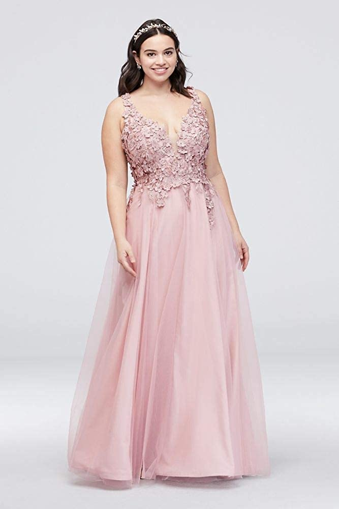 Dramatic Floral Applique Plus Size Tulle Prom Dress Style VCA4568W ...