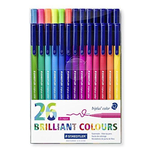 Staedtler 323 TB26 Fasermaler Triplus Color circa 1.0 mm, Set mit 26 verschiedenen Farben in Klarfaltbox