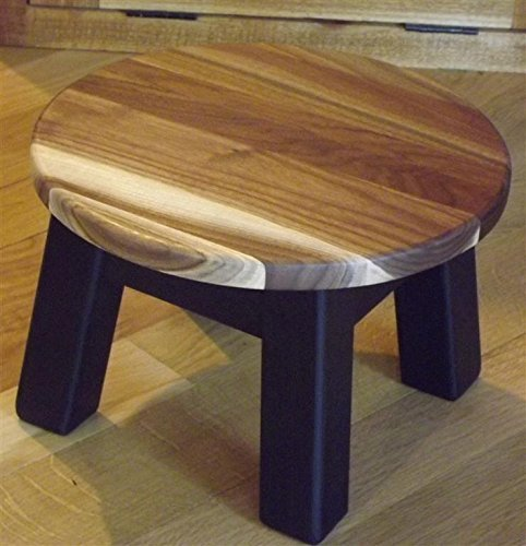 Walnut sapwood top wood step stool foot stool riser round 8