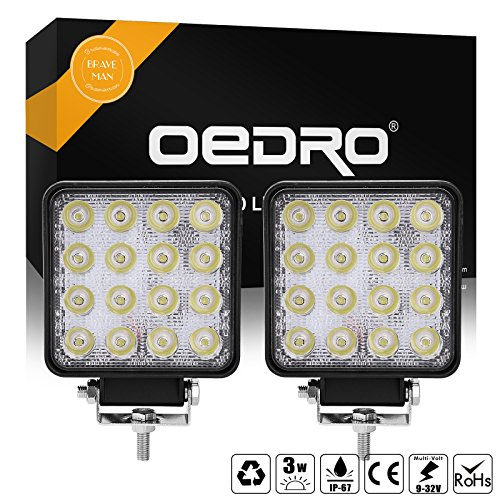 (OEDRO LED Work Lights 2pcs 4Inch 48W Spot Lamp 6000K Compatible for SUV 4WD 4X4 UTE ATV Pickup Truck Jeep Work Light led Fog Driving Light Offroad 3 Years)