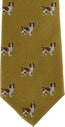 Gold Beagle Silk Tie by Michelsons of London