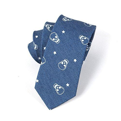 Casual 6 Ties 100 Denim Men's 5CM Blue Cotton Skull Dark JOOWEN Printed Neckties Skinny 85pwx5q