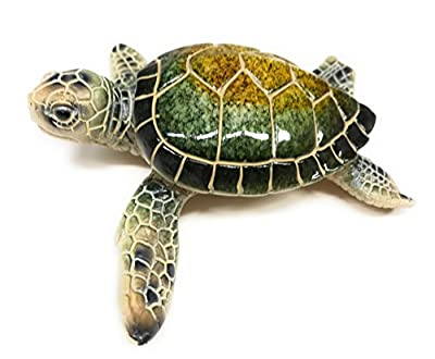 Green Tree Sea Turtle Resin Figurine, Indoor Outdoor Decor, 5.25 Inches Wide