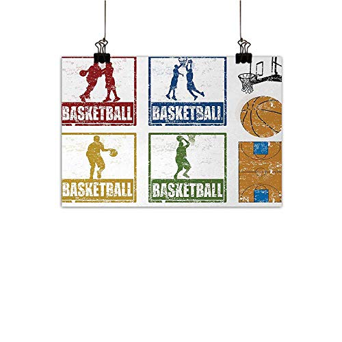 Anzhutwelve Basketball Chinese Classical Oil Painting Collection of Vintage Rubber Stamp Print Illustration Basketball Players for Living Room Bedroom Hallway Office Navy Green Red 47
