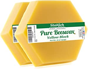Stakich Pure Yellow Beeswax Blocks - Natural, Cosmetic Grade, Premium Quality - 2 lb (in 1 lb Blocks)