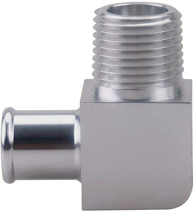 Silber Rubyu 90 /° Grad Chrom Billet Aluminium Heizungsschlauchanschluss 5//81//2 NPT