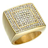Dixinla Rings Steel , Stainless Steel Men and European Fashion Hip-hop Square Diamond Ring Finger Jewelry Gift for Family or Friends