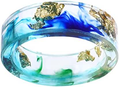 New Arrival Handmade Ocean Style Colorful Ink Transparent Resin/Plastic Women/Men's Charm Ring
