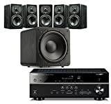 SVS Home Theater Prime Satellite 5.1 Package Featuring 5 Prime Wired Satellite Speakers, SB–1000 Wired Subwoofer (Black Ash), and Yamaha RX-V483BL 5.1-Channel 4K Ultra HD AV Receiver with Bluetooth