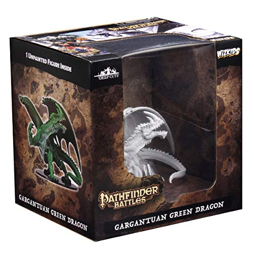 WizKids Pathfinder Deep Cuts Unpainted Miniatures: Gargantuan Green Dragon Toy