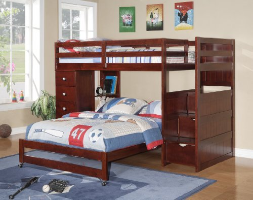 Twin over Full Modular Stairway Loft Bed with Chest