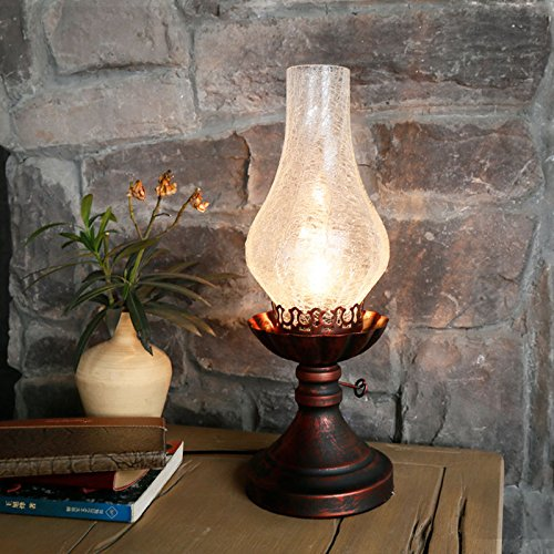 Amazon.com: Jiuzhuo Antique Kerosene Lamp Cracked Glass ...
