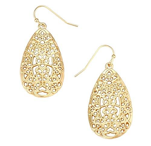 """Open Scroll Design Earrings - Ornate Lacy Scroll Curlicue Open Work Nouveau Matte Gold-Tone Filigree Teardrop Dangle Earrings 1 3/4"""""""