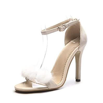 4812d91d7e0 CAI Women s Shoes Leatherette 2018 New Spring Summer Comfort Sandals Sexy  Stiletto Heel Super High Heel Buckle Shoes Open Toe Lace-up for Dress  Ladies ...