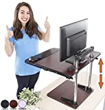 The UpTrak Metro Standing Desk & Bonus Keyboard Tray | Sit-to-Stand Desk Converter by Award-Winning Stand Steady | Spring-Assisted LIFT! Height Adjustable Sit Stand Desk! (Cherry)