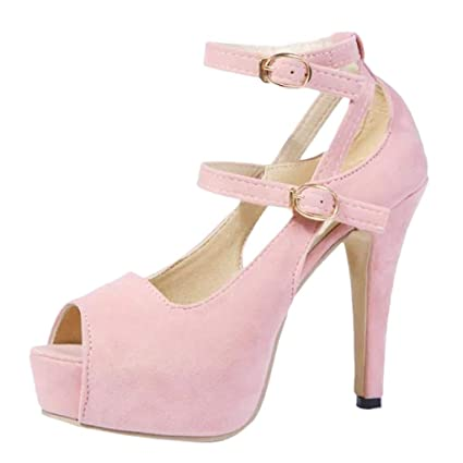 21a1d384d21fa Amazon.com: Women's Fashion Wild Sexy Solid Color Sandals High Heel ...