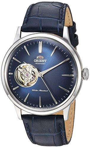 Orient Men's 'Bambino Open Heart' Japanese Automatic Stainless Steel and Leather Dress Watch, Color Blue (Model: RA-AG0005L10A)