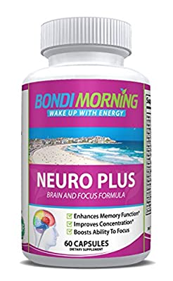 Neuro Plus Brain Boosting Dietary Supplement – 100% Natural & Healthy Ingredients, Advanced Slow-Releasing Formula For Lasting Results, Promotes Focus, Clarity & Alertness – 60 Capsules