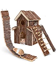 HWONMTE Hamster Toys House 3 Pack Guinea Pig Toys Hamsters Climbing Ladder Brige Natural Wooden Funny Play Toy Chews for Small Animals Rat Mouse Hideouts