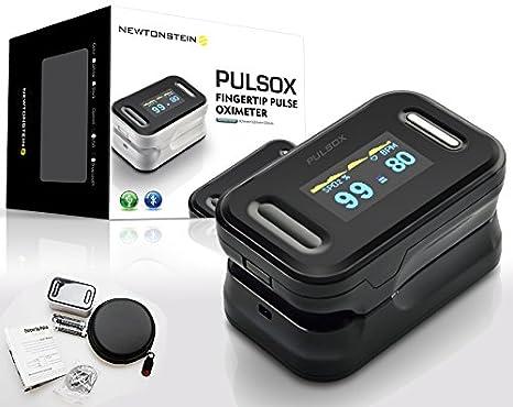 Pulsox Pulsioxímetro de dedo con pantalla a color y alarma carcasa baterías
