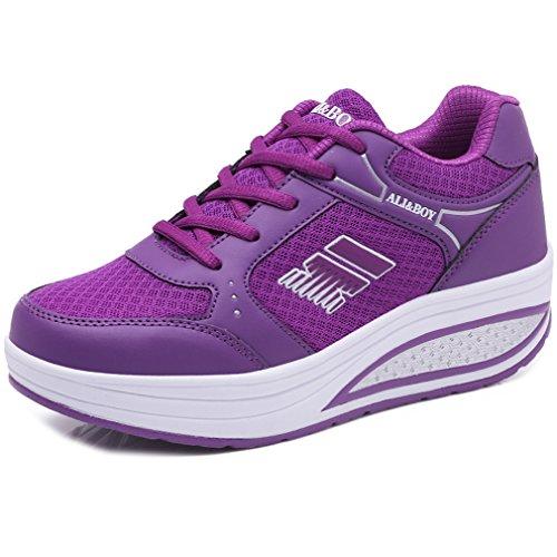 37af5baeb764 Solshine Damen Fashion Plateau Schnürer Sneakers mit Keilabsatz WALKMAXX  Schuhe Fitnessschuhe Lila 8