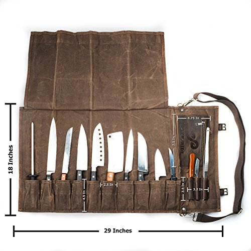 Chef Knife Roll Bag (13 Slots) | Stores 10 Knives, 3 Kitchen Utensils PLUS a Zipper | Durable Waxed Canvas Knife Carrier | Easily Carried by Shoulder Strap For Professional Chefs | Knives Not Included by EVERPRIDE (Image #6)