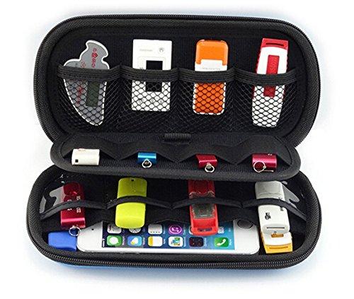 Geertop, tragbar, EVA, Travel Organizer für USB Flash Stick, Speicherkarten, Kabel, Festplatte &Handy Halter schwarz