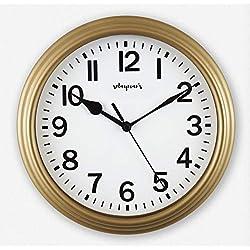 Solayman's Classic Round Wall Clock, Decorative, Modern, Basic Clock - Gold