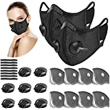 UBRU Sports Mask Set, 2 Cycling Masks with Inner Activated Carbon Filter, 8 Extra Filters, 8 Breathing Valves and 8 Soft Foam Paddings for Walking Running Cycling