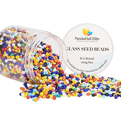 - PandaHall Elite About 2000 Pcs 8/0 Glass Seed Beads Opaque Colors Round Pony Bead Mini Spacer Beads Diameter 3mm for Jewelry Making