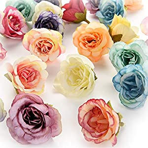 Flower heads in bulk wholesale for Crafts Rose Artificial Silk Peony Flowers Wall Heads Home Wedding Decoration DIY Wreath Accessories Craft Fake Flowers Party Birthday Decor 30Pcs 4cm (Colorful) 29