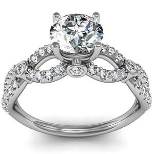 1.00ct Unique Diamond Engagement Ring Infinity Design 14K