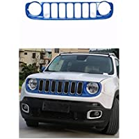 FMtoppeak Blue Exterior Accessories ABS Chrome Front Grille Grill Kit Cover For Jeep Renegade 2014 UP