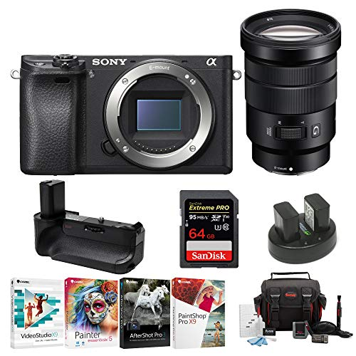 Sony a6300 Mirrorless Digital Camera (Body Only) with 18-105mm OSS Lens & Focus Accessory Bundle