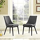 Modway Viscount Fabric Dining Chairs in Gray – Set of 2