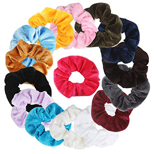 Ondder 15 Pack Velvet Scrunchies Hair Bobble Elastics Hair Scrunchy Hair Bands Headbands Women Scrunchies Bobbles Hair Ties, 15 Colors