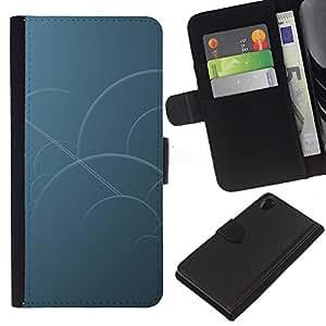 """A-type (Círculos azules"""") Colorida Impresión Funda Cuero Monedero Caja Bolsa Cubierta Caja Piel Card Slots Para Sony Xperia Z2 D6502"""