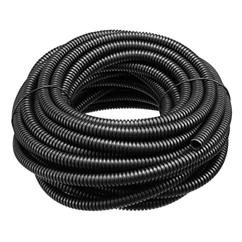 uxcell Corrugated Tube Conduit PP Polyethylene Tubing Flexible Pipe Hose Black 6mm Inner Dia 9mm Outer Dia. 10M Long