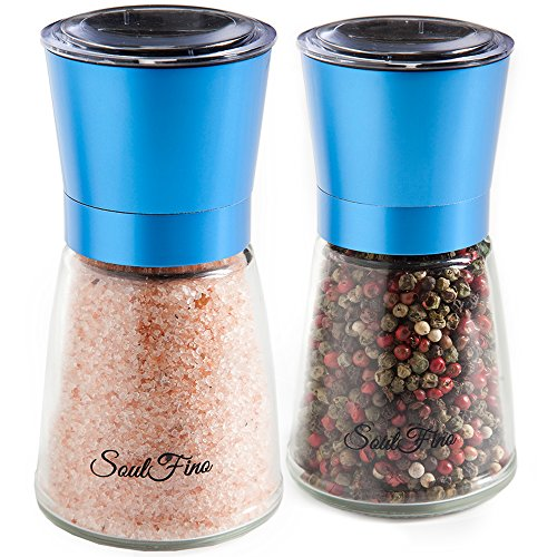 Mushroom Salt Mill - Premium Salt and Pepper Grinder Shaker Set. Anodized Stainless Steel in Vivid Color. 5.35