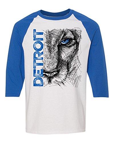 Detroit Lions Ford Field ((0074) Lion Eye Detroit Heavy Cotton Three-Quarter Raglan Sleeve Baseball T-Shirt, Detroit T-Shirts LLC)