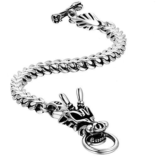 Oidea Mens Stainless Steel Punk Gothic Dragon Head Biker Bracelet,Silver,9.4